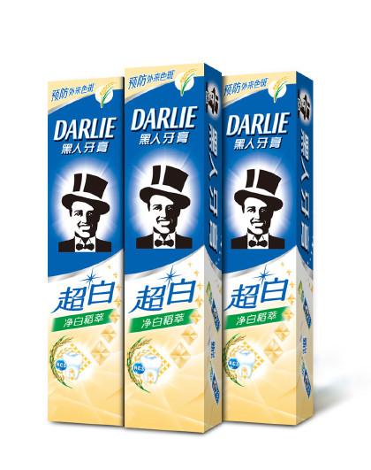 黑人牙膏Darlie黑人牙膏超白净白稻萃牙膏三件套420g 美白健齿 牙膏套装