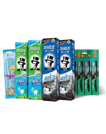 黑人牙膏Darlie黑人牙膏超白茶倍健牙膏套装6件套 深层清洁 清新口气 牙膏牙刷套装