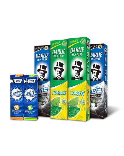 黑人牙膏【get好人缘秘笈】Darlie黑人牙膏超白系列美齿炫白6件套710g(口味随机)