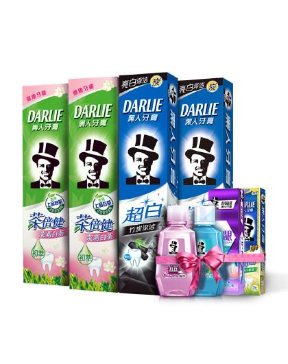 黑人牙膏Darlie黑人牙膏超白竹炭茉莉白茶牙膏6件套 美白洁净 清新口气 牙膏套装