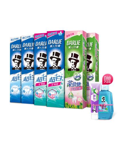 黑人牙膏Darlie黑人牙膏超白茉莉白茶牙膏组合8件套 茉莉清香 亮白健齿