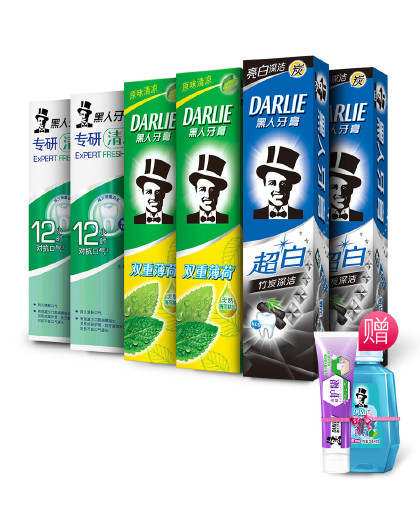 黑人牙膏Darlie黑人牙膏清新亮白牙膏8件惠享装