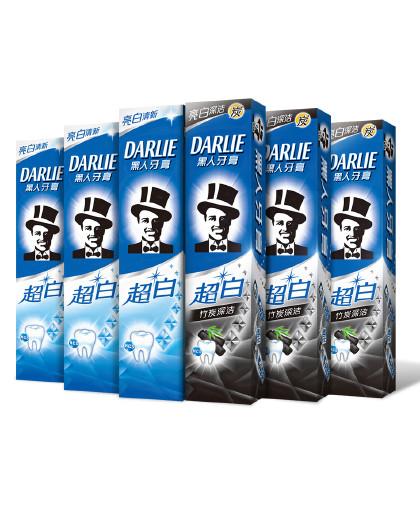 黑人牙膏Darlie黑人牙膏竹炭深洁焕白套装840g