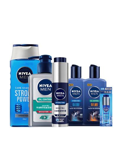 妮维雅妮维雅NIVEA 男士水润净爽护肤套装  洗面奶 精华 洗发露 男士护肤保湿套装 见实物