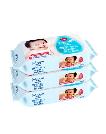 强生婴儿强生 婴儿口手湿巾实惠装 80片*3  温和清洁 洁净口手