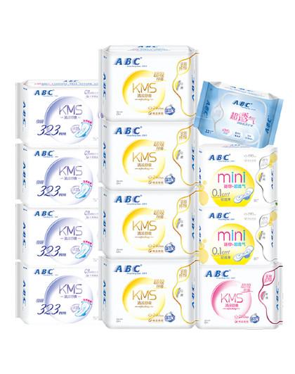 ABCABC棉柔舒适表层日夜组合卫生巾12包90片 姨妈巾 迷你巾