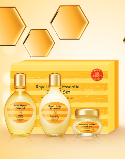 思亲肤【十周年庆特惠礼盒】韩国思亲肤蜂蜜活颜护肤套装礼盒 黄色