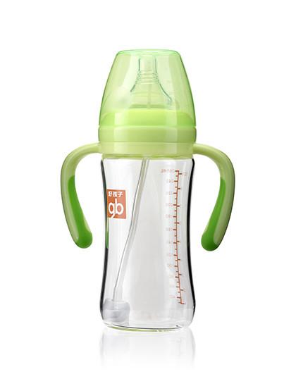好孩子GB好孩子母乳实感宽口径握把吸管玻璃奶瓶260ml