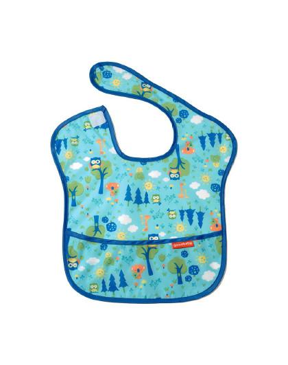 好孩子GB好孩子森林系列防水围兜蓝绿色 宝宝吃饭的衣服饭兜柔软围嘴辅食婴儿罩衣超软兜 蓝色