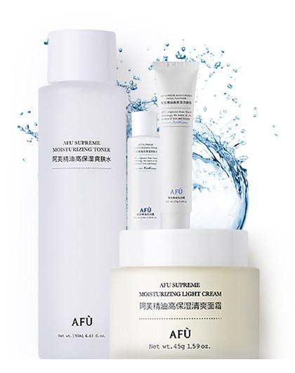 阿芙阿芙AFU精油高保湿清爽补水套装4件套 精油爽肤水 保湿面霜 氨基酸洗面奶