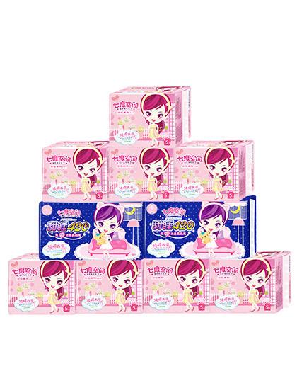 七度空间七度空间(SPACE7) 少女系列超薄纯棉卫生巾套装48片 245mm*40片+甜睡420mm*8片
