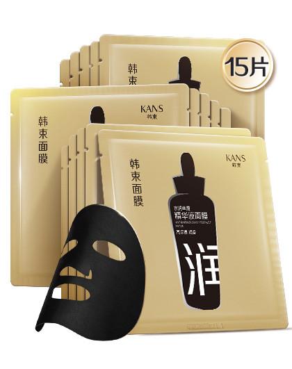 韩束黑面膜水润丝滑精华液面膜15片装 补水保湿 小黑瓶精华黑面膜