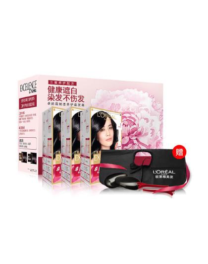 欧莱雅欧莱雅自然黑色染发礼盒装 染发霜 持久发色