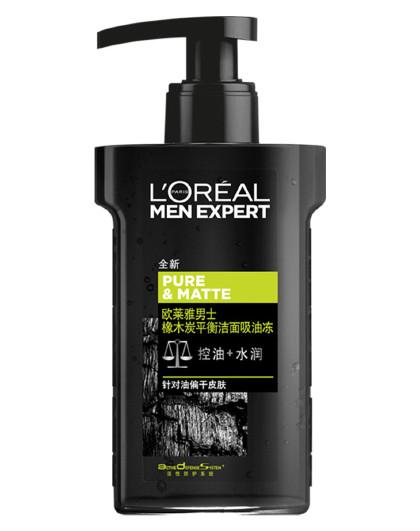 欧莱雅欧莱雅男士橡木炭平衡洁面吸油冻 160ML 平衡油脂 男士洗面奶 控油 清洁