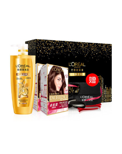 欧莱雅欧莱雅紫红褐棕色染发+护发礼盒装 生日礼物