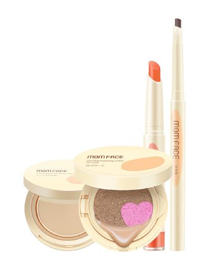 亲润亲润孕妇化妆品护肤品孕期粉嫩裸妆4件套装(双色CC霜+粉饼+口红+眉笔) 其它颜色