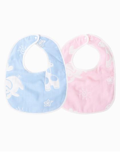 子初婴儿围嘴口水巾2条装 6层棉纱吸水性佳防止红下巴口水兜