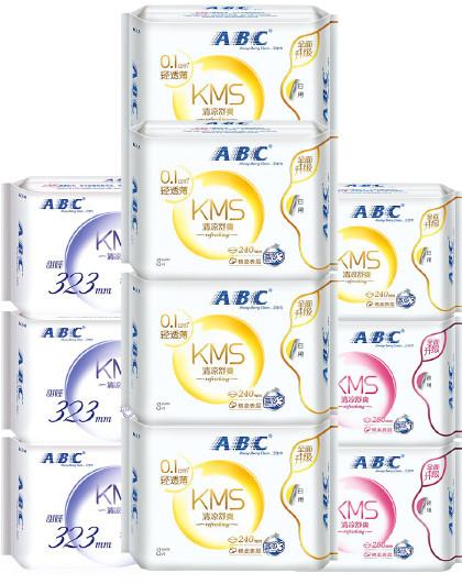 ABCABC轻透薄棉柔透气卫生巾套装10包65片(240mm*40片+280mm*16片+323mm*9片)