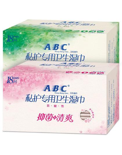 ABCABC卫生湿巾2盒装(36片)