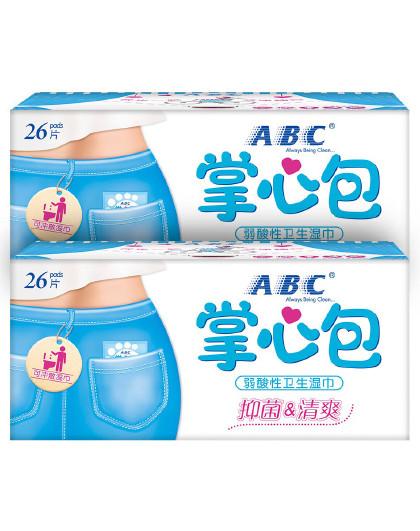 ABCABC卫生湿巾掌心包2盒52片
