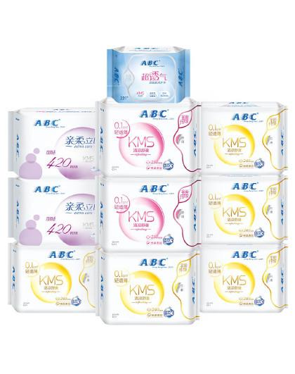 ABCABC轻透薄日夜卫生巾组合套装10包84片 姨妈巾 护垫