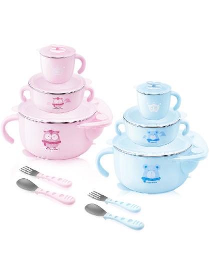 子初儿童保温餐具套装 婴儿碗勺辅食碗宝宝吃饭吸盘碗防摔注水保温碗