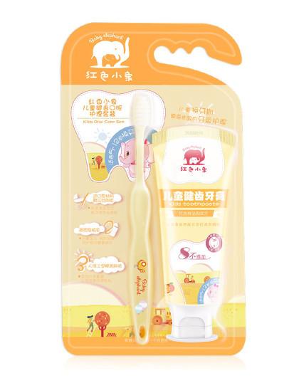 红色小象香橙果味宝宝爱 红色小象 儿童健齿口腔护理套装(5-12岁)(甜橙味) 宝宝牙膏牙刷套组