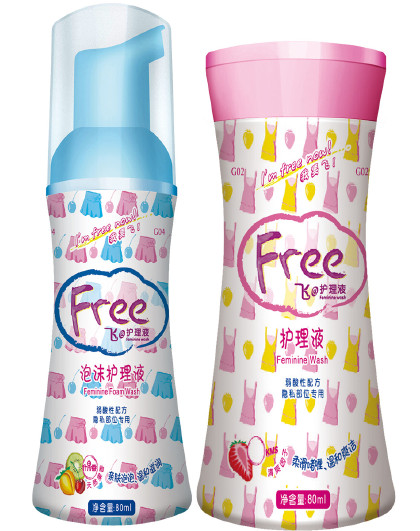 FreeFree·飞女性私处护理洗液卫生私密清洗液2瓶泡沫型80ml+啫喱型80ml