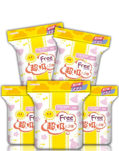FreeFree·飞厚吸升级超吸1.3倍全日用卫生巾组合装5包40片(240mm*40片)