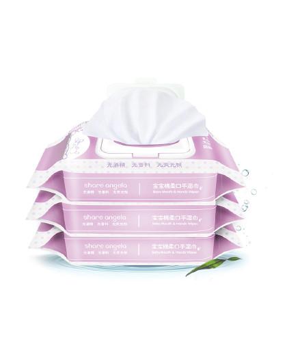 十月天使十月天使 宝宝棉柔手口湿巾80片*3包带盖新生儿婴儿
