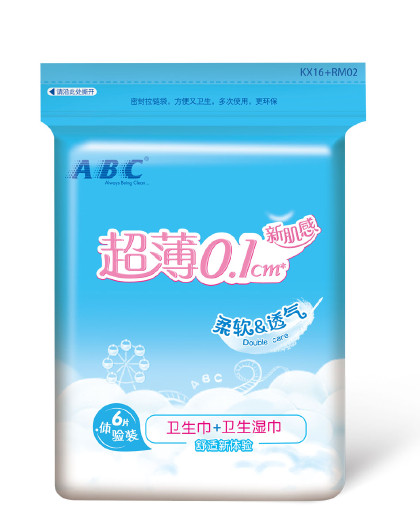 ABCABC新肌感卫生巾3片+卫生湿巾3片