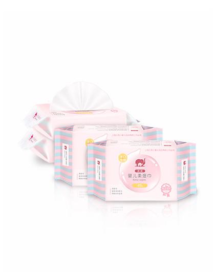 诺绵红色小象诺绵 手口专用婴儿柔湿巾25p*4【婴儿湿巾 手口湿巾 湿巾/纸巾】
