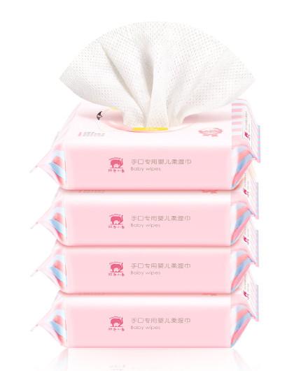 红色小象红色小象手口专用婴儿柔湿巾25p*4  婴儿湿巾  温和洁净  无香精酒精【宝宝湿巾】