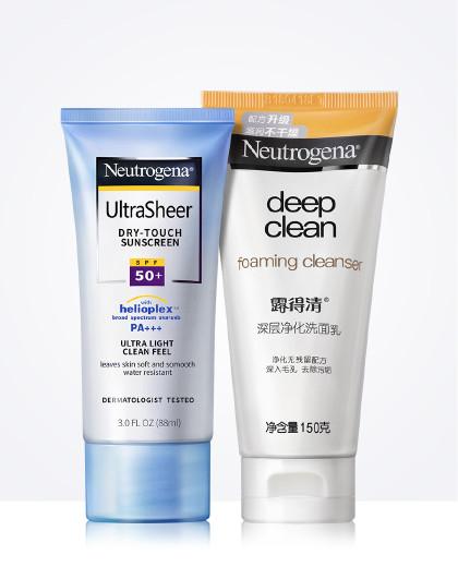 露得清轻透防晒乳液+深层净化洗面乳护肤防晒两件套