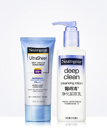 露得清清轻透防晒乳液+净化卸妆乳两件套
