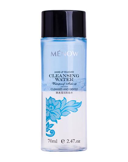 美诺美诺MENOW清透滢润卸妆水 70ml 温和卸妆 眼唇彩妆 淡妆 深层清洁 油水结合卸妆水 淡蓝色